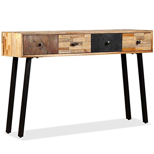 vidaXL Konsolentisch mit 4 Schubladen Konsole Beistelltisch Sideboard Flurtisch Ablagetisch Frisiertisch Recyceltes Teak Massiv 120x30x76cm