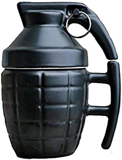 3D Grenade Shape Coffee Café Mugs Practical Ceramic Tea Water Cup with Lid Funny Gifts-Black