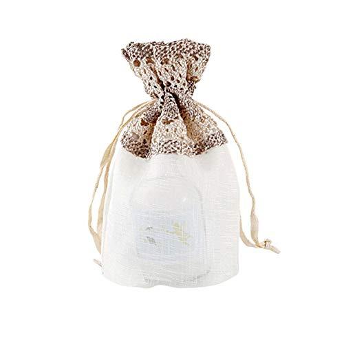 Minear 10 Stück Geschenk-Taschen Mit Kordelzug,Geteilte Fuge Und Hohlform Slub Garn Stoff Weiße Sternenklare Spitze Einzigartiges Aussehen Für Hochzeit Beutel Taschen Geburtstag