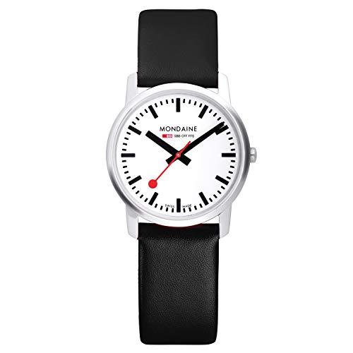 Mondaine Simply Elegant - Schwarze Lederuhr für Herren und Damen, A638.30350.11SBB, 41 MM