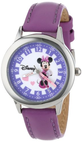 Disney W000039 Minnie Mouse Time Teacher Reloj de acero inoxidable con correa de piel morado