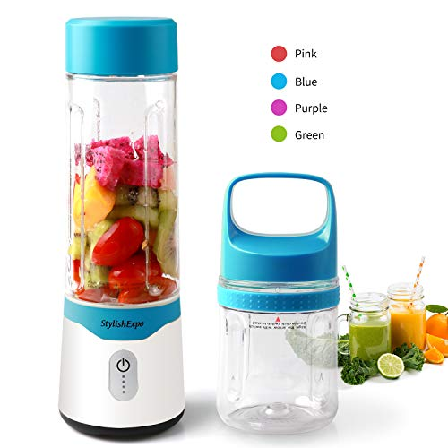 Personal Smoothie Blender, USB Rechargeable Baby Food Blender,Mini Blender for Shakes and Smoothies With 2 Cups (10oZ and 17oZ) for Fitness Gym Travel Picnic, BPA Free, Christmas Gift (Blue)