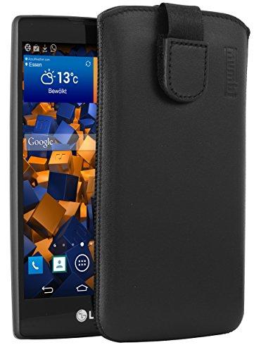 mumbi Echt Ledertasche kompatibel mit LG Spirit 4G Hülle Leder Tasche Case Wallet, schwarz