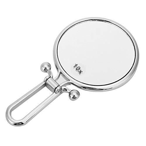 Jadeshay Miroir de Maquillage Miroir de Maquillage Double Face 10x Miroir cosmétique de Poche Pliable grossissant pour Les Voyages à Domicile(Silver)