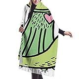 Bufanda de mantón, Womens Winter Scarf Cashmere Feel Green Cat Graphic Art Scarves Stylish Shawl Wraps Soft Warm Blanket Scarves For Women