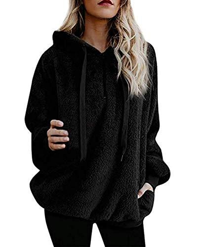 Yidarton Pullover Damen Hoodie Winter Lose Warm Kapuzenpullover Teddy-Fleece Langarm Oversize Sweatshirt mit Kapuze (Schwarz, Large)