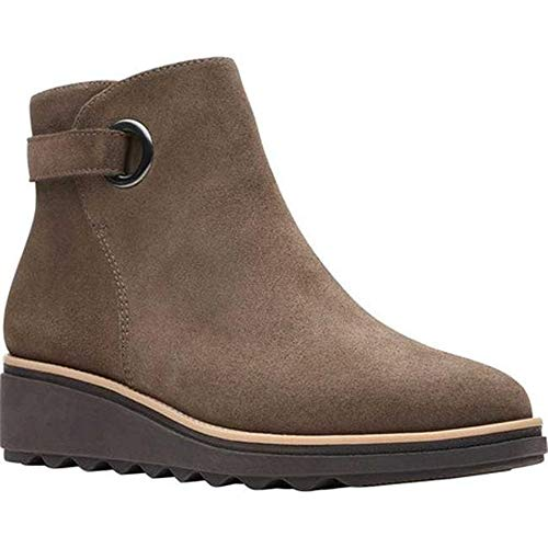 Clarks Womens Sharon Spring Ankle Boot, Olive Suede, 7.5