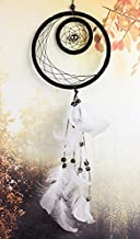 Artsicraft Moon Dream Catcher with White Feathers Wall Hanging Decoration Ornament Indian Chime Handmade Traditional Dreamcatcher White 25