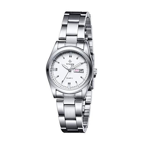 CXJC Reloj deportivo de estilo de moda, reloj de cuarzo de calendario impermeable luminoso multifuncional, correa de acero inoxidable + espejo de reloj de mineral mejorado (Color : Blanco)