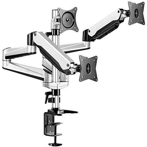 Triple Monitor Stand - 17-32' Heavy Duty Full Motion Die-Cast Aluminum Gas Spring Monitor Mount Fit Three 17 to 32 inch LCD Computer Screens with Clamp, Grommet Kit (Silver)