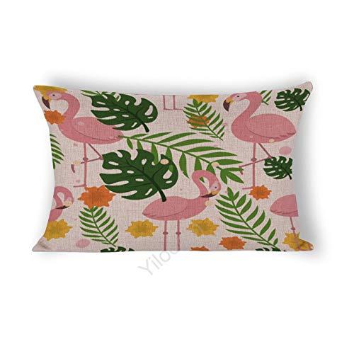Funda de cojín rectangular de 30,5 x 50,8 cm, para cama, sofá, coche, decoración del hogar, flamencos y hojas tropicales #416