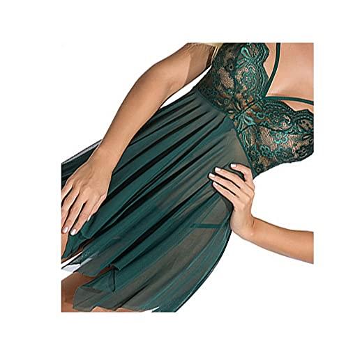 JJXZM lencería Mujer,lencería Sexy Lenceria Sexy Picardias Mujer Sexy Tallas Grandes Encaje Lencería Conjunto Mujer Babydoll Lencería Sexy(Verde Oscuro) (Color : Dark Green, Size : XL)