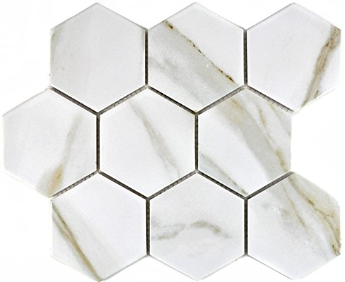 Mosaik Fliese Keramik weiß Hexagon Calacatta für WAND BAD WC DUSCHE KÜCHE FLIESENSPIEGEL THEKENVERKLEIDUNG BADEWANNENVERKLEIDUNG Mosaikmatte Mosaikplatte