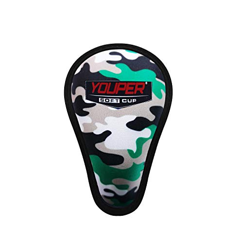 Youper Boys Youth Soft Foam Protective Athletic Cup (Ages 7-12), Kid Athletic Cup for Baseball, Football, Lacrosse, Hockey, MMA (Army Camo (1-Pack))