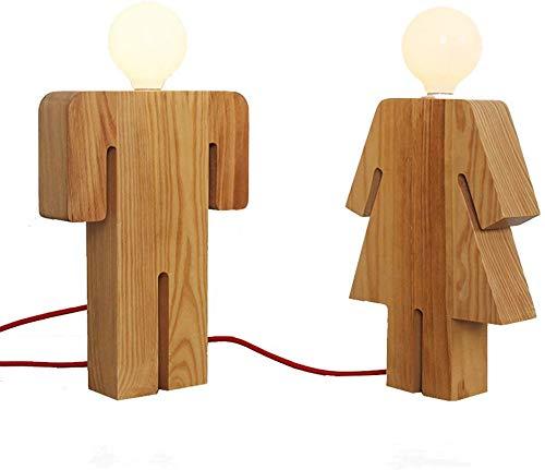 JYQstad Japanisch-Stil Moderne minimalistische Holz Tischlampe Schlafzimmer Nachttischlampe Kreative Mode Männer und Frauen geformte Studie Schreibtischlampe (Stil : Couple Style)