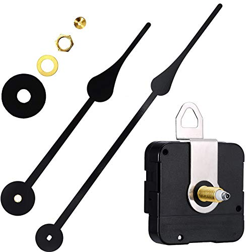 High Torque I Shaft Hands Quartz DIY Wall Clock Movement Mechanism with 9.1 Inch Long Spade Hand Battery Operated Repair Parts Replacement, 3/10 in Max Dial Thickness, 4/5 in Total Length