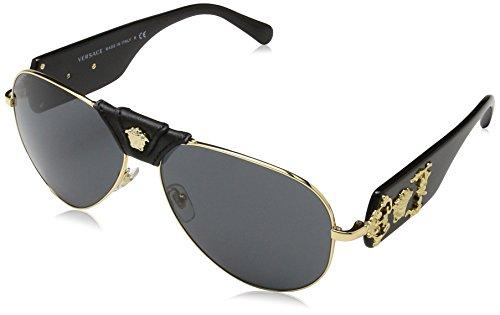 Price comparison product image Versace VE2150Q - 100287 Gold / Black Aviator Sunglasses 62mm