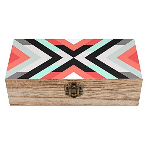 Caja decorativa de madera geométrica de coral de color menta, color negro, caja de joyería y almacenamiento para el hogar, caja de regalo, caja de té de almacenamiento de 7.9 x 3.7 x 2.3 pulgadas