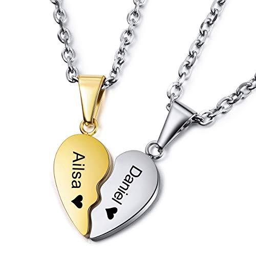 MEMEDIY Personalized Heart Pendant Necklace Customized Name...