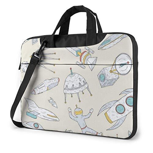 Space Rockets Planets Laptop Tote Bag Compatible Ultrabook Messenger Shoulder Bag With Strap,