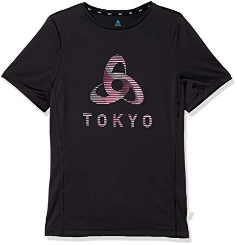 Odlo T-Shirt S/S Crew Neck Element Light Print pour Homme XXL Noir – Placed Print Ss20.