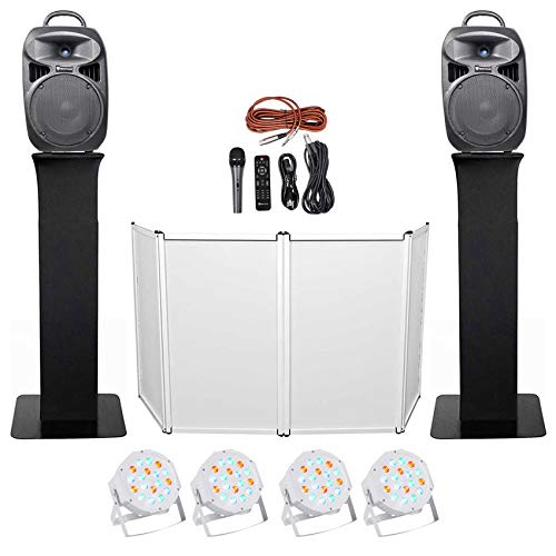Lowest Prices! DJ Package w/Dual 8 Bluetooth Speakers+Mic+Tripod+Totem Stands+Faade + Lights