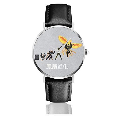 Reloj unisex de negocios casual Ikki Phoenix Evolution Saint Seiya Caballeros del Zodíaco, reloj de cuarzo con correa de cuero negro para hombres y mujeres jóvenes colección regalo