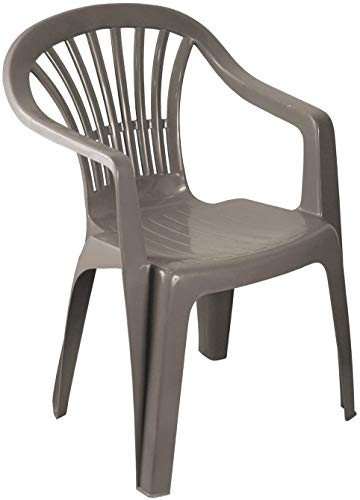 Low Back Plastic Garden Chair - TAUPE Colour - Stackable Patio Outdoor Picnic Furniture - Set of 4 Chairs