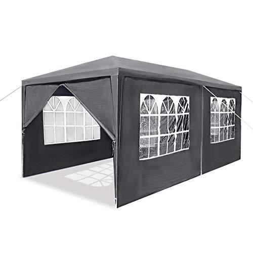 LZQ 3x6M Garten Pavillon Dunkelgrau Wasserdicht UV Schutz Festzelt mit 6 Seitenteilen für Garten Terrasse Markt