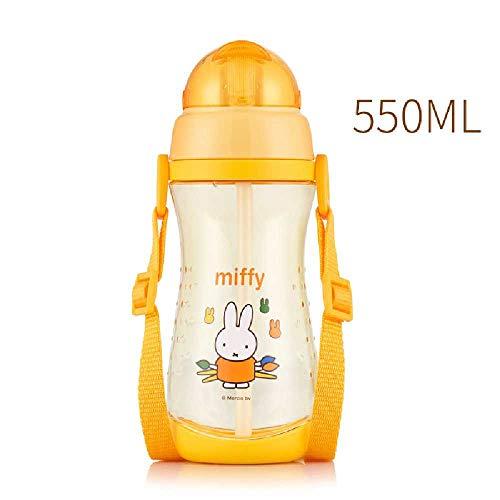xiaojiangqi Stroh Tasse Kinder Tragbare Plastikbecher Niedlichen Cartoon Kindergarten Jungen Mädchen Wasserkocher Wasserdichte Tasse Gelb Miffy