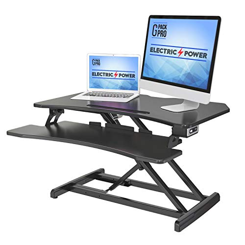 G-Pack Pro 34B Electric Standing Desk with Dual Computer Monitor Support, Adjustable Sit to Stand Desktop with Tablet Tray Slot, Cable Management, and Keyboard Tray