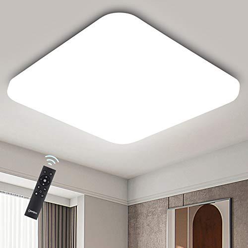 Oeegoo 24W Regulable LED de Luz de Techo Cuadrado, Lámpara de Techo LED de 2050 Lúmenes RA>80 (Cambio de temperatura de color por el interruptor: 3000K/4000K/6000K)