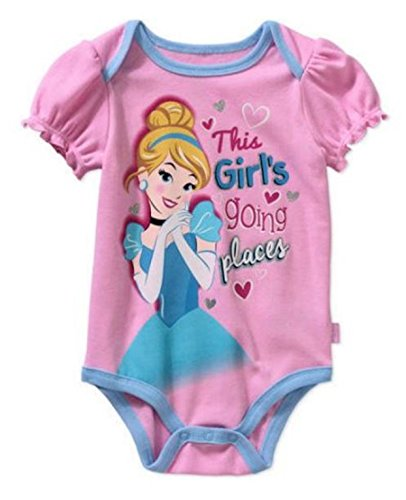 Disney Princess Cinderella Assorted Baby Girls Bodysuit Dress Up Outfit (12 Months, Pink with Purple Trim)