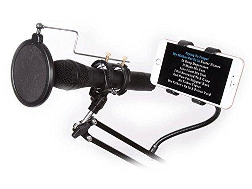 HQ-Power HQMS10010 tafelstatief voor microfoon met smartphone-houder verstelbaar zwart