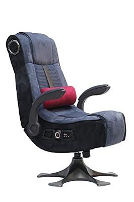 X Rocker PRO 2.1 Wireless 4 Speaker Pedestal Video Gaming Chair Pedestal Base, High Tech Audio, Tilt & Swivel Design, Microfiber & Mesh - Lumbar Pillow, Head and Arm Support - Blue/Charcoal,5129201