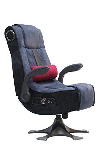 X Rocker 5129201 Pedestal Video Gaming Chair 2.1 Wireless Microfiber Mesh, Blue/Charcoal