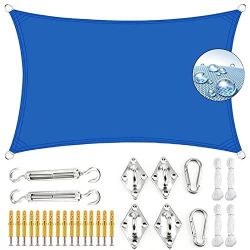 KOUDU Vela de Sombra Impermeable 5x6m Antracita protección UV, Toldos IKEA Impermeable, para Jardín Patio Terraza Balcón, Azul