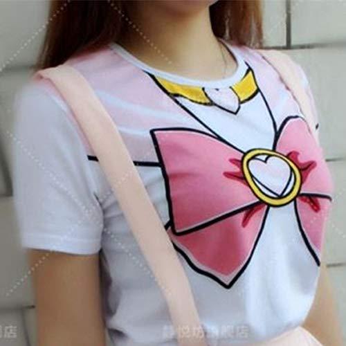 WSJDE Lolita Kawaii Cosplay Kostüm Sailor Moon Kristall Gefälschte Bowknot Short T-Shirt T-Shirt Frau Kleidung EIN stück L rosa Hemd