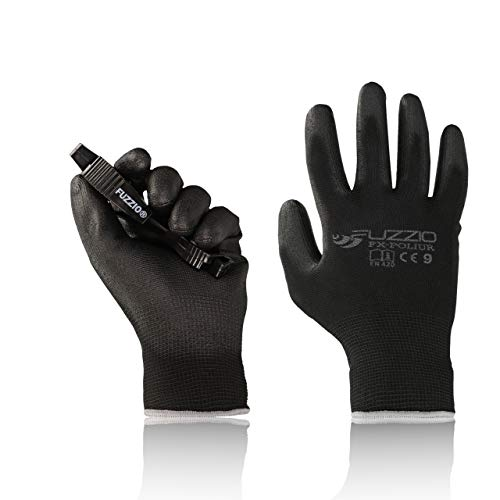 FUZZIO® 20 Paar Arbeitshandschuhe EN388 PU Beschichtung Bauhandschuhe Montage mit Handschuh-Klammer (L 9, Schwarz)