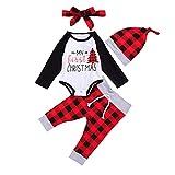 My First Christmas Outfits - Mameluco de manga larga para bebé, diseño de Papá Noel, gorro de otoño e invierno (Mi primer día de Navidad, 3-6 meses)