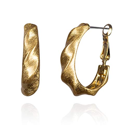 namana Twisted Gold Hoop Earrings for Women, Gold Plated Chunky Hoop Earrings for Women, Pair of Large Gold Hoops for Women and Teenage Girls with Elegant Brushed Finish, Jewellery Gifts for Women