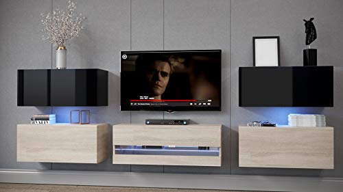 Home Direct Schrankwand Wohnwände mit Frontscheibe Modernes Wohnzimmer Wohnschränke mit LED Beleuchtung Dolly Ex3 (EX3-20BS-HGM3, Möbel ohne LED)