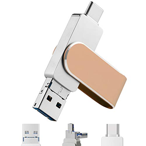 Lesencen 3 in 1 Swivel Memory Photo Stick USB 3.0 Flash Drive Compatible with Android / iPhone / iPad / iOS / Mobile Smart Phone / MacBook / PC / Laptop / PC Tablet /Car Audio (64GB, Rose Gold)