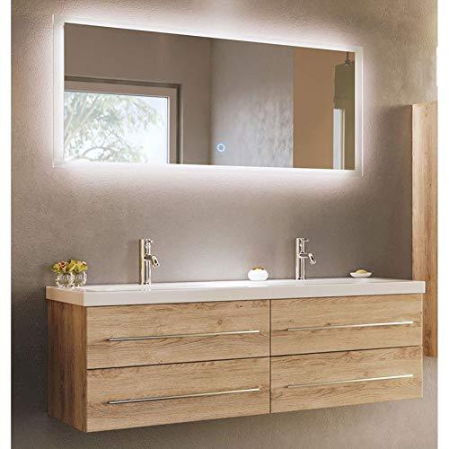 badmöbelset Elegante juego de baño doble de roble claro con espacio de lavado en forma de onda.