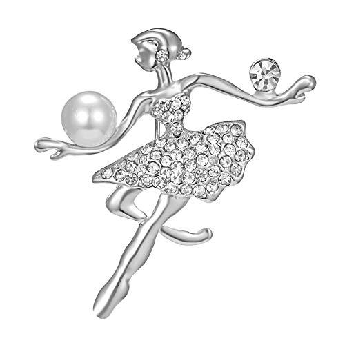 Julhold Broschen Damen Strasssteine Ballett Tanzen Mädchen Brosche Elegante Tanzrock Pin Damen Anti-lighting Corsage Brosche Clips Kopftuch Diamant Abzeichen Kostümzubehör(E)