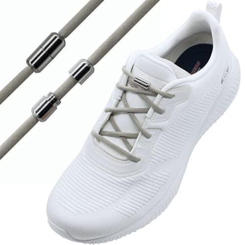 Run out sports Elastische Schnürsenkel mit Metallverschluss - schleifenlos - elastisch ohne binden - Schnellverschluss mit Metallkapsel (Grau)