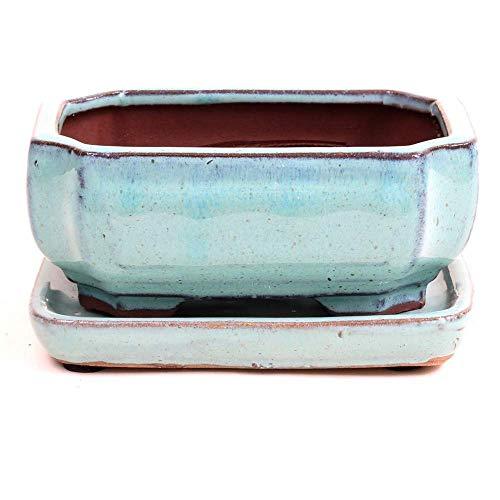 Bonsai - Schale eckig, 16 x 11,5 x 6,5 cm, mintgrün, mit Untersetzer 23982