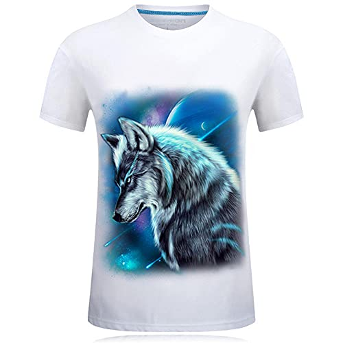 LYWZX Camisetas Hombre Camiseta Unisex De Lobo con Estampado 3D De Algodón Suelto De Manga Corta Informal De Verano para Hombre Talla Grande Media Manga-White 4XL