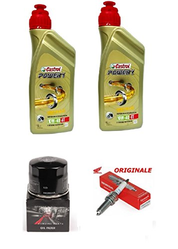 MG Kit Tagliando Originale Sh 300 2007 al 2017 2 LT Olio Castrol Power 1 10w40 + Filtro Olio Originale + Candela Originale
