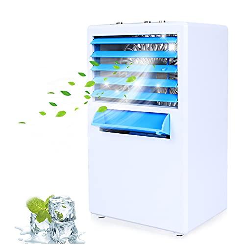 Condizionatore Portatile, Mini Raffreddatore d'Aria Evaporativo Umidificatore Purificatore Ventilatore, Mini Air Cooler-Bianca